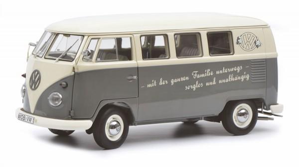 """Schuco Exklusiv VW T1b Bus, grau / weiss """"mit der ganzen Familie unterwegs"""" Limited Edition 300"""