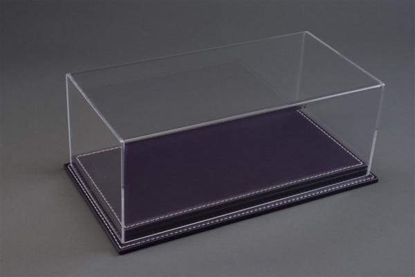 Vitrine Mulhouse für 1:18 Modelle Acrylhaube mit Leder Bodenplatte lila L325xB165xH125mm