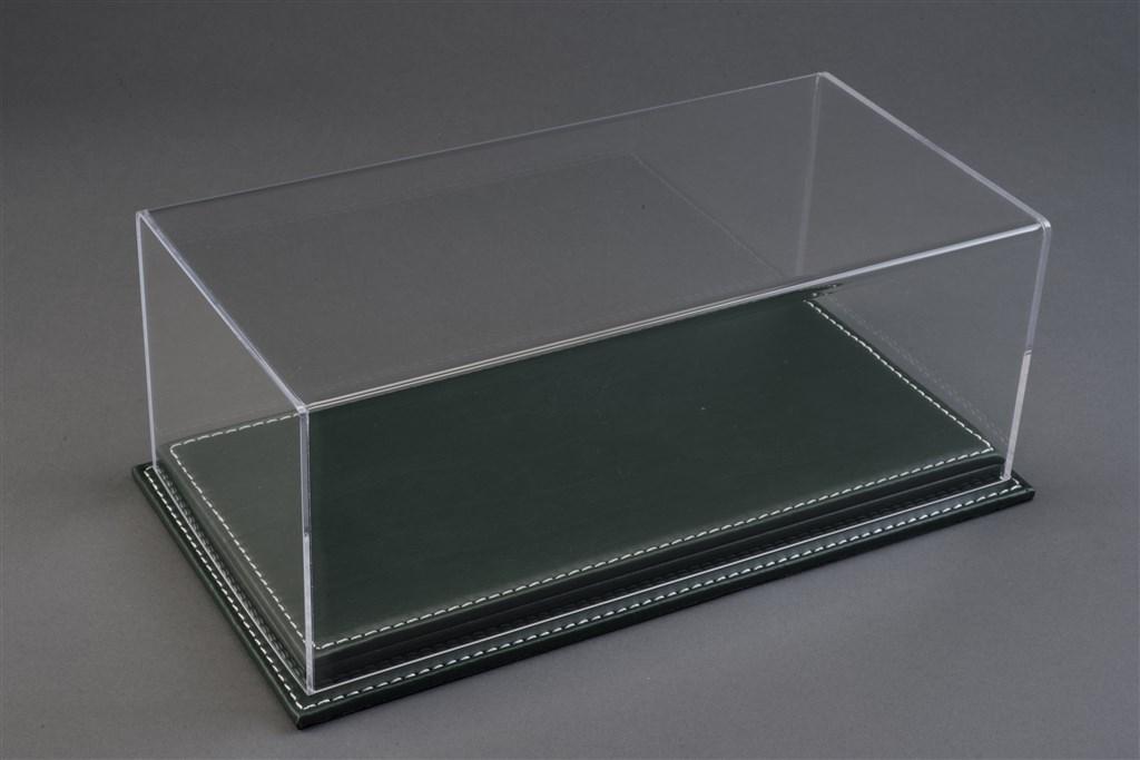 vitrine mulhouse f r 1 18 modelle acrylhaube mit leder bodenplatte gr n l325xb165xh125mm. Black Bedroom Furniture Sets. Home Design Ideas