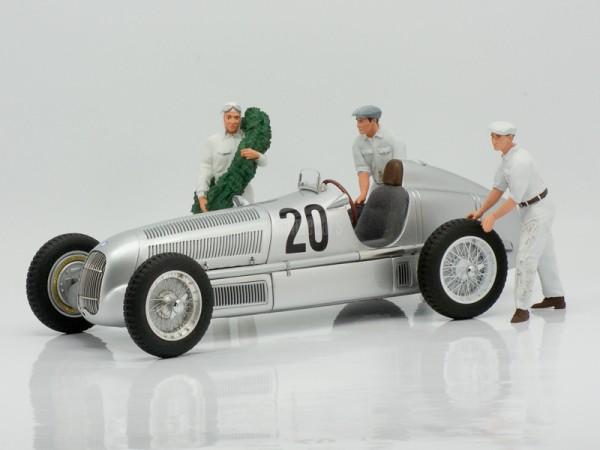 Figutec Figur 1:18 Rennfahrer Mercedes neben d.Auto, 2 Mechaniker 180008,180102,180103, TEC18S003M