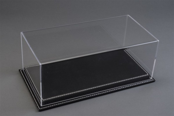 Vitrine Mulhouse für 1:12 Modelle Acrylhaube mit Leder Bodenplatte schwarz L510xB240xH180mm
