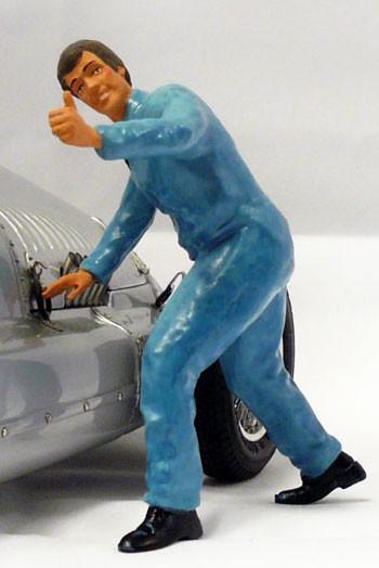 figurenmanufaktur Figur 1:18 Mechaniker Daumen hoch, blauer Overall