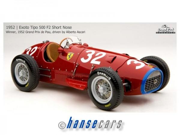 Exoto Ferrari 500 F2 1954 Grand Prix Frankreich 1952 Ferrari 500 F2 #32 Short Nose,Crate Grill, BLUE