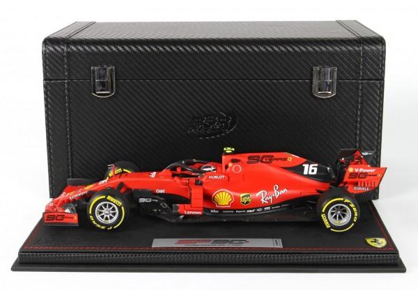 BBR Ferrari SF90 GP Australia Leclerc n 16 Pirelli yellow Leder Basis und Box Limited Edition 80