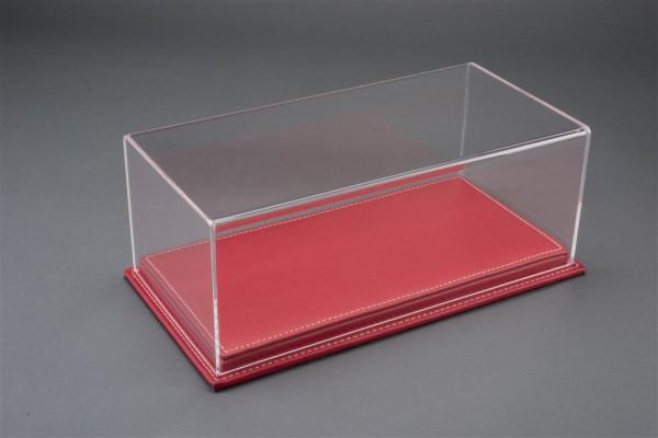 Vitrine Mulhouse für 1:18 Modelle Acrylhaube mit Leder Bodenplatte rot L325xB165xH125mm