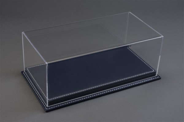 Vitrine Mulhouse für 1:18 Modelle Acrylhaube mit Leder Bodenplatte dunkelblau L325xB165xH125mm