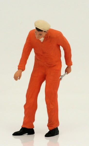 figurenmanufaktur Figur 1:18 Mechaniker, orangener Overall