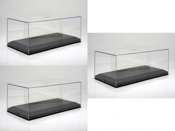 Vitrine Plexiglashaube mit schwarzer Bodenplatte für 1-18 Modelle 3er Karton