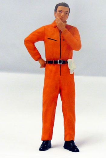 figurenmanufaktur Figur 1:18 Mechaniker nachdenklich, orangener Overall