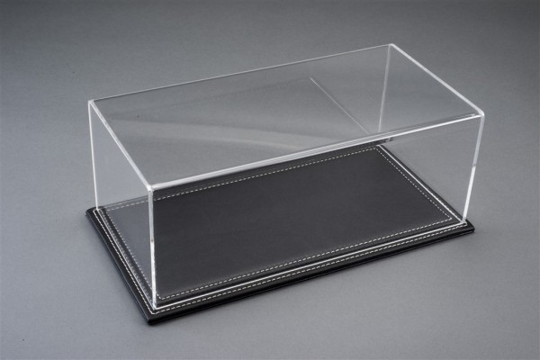 Vitrine Maranello XL für 1:18 Modelle Acrylhaube mit Leder Bodenplatte schwarz L375xB165xH125mm