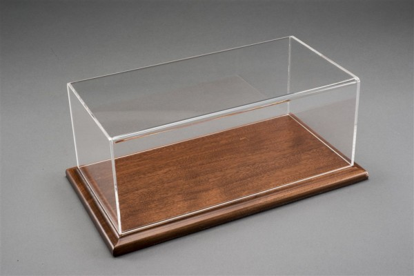 Vitrine Molsheim für 1:12 Modelle Acrylhaube mit Holz Bodenplatte mahagoni L510xB240xH180mm