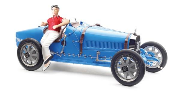 CMC Bugatti T35, blau mit Frau-Rennfahrerin Figur Limited Edition 600 Stk.