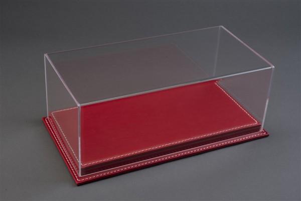 Vitrine Mulhouse für 1:12 Modelle Acrylhaube mit Leder Bodenplatte rot L510xB240xH180mm