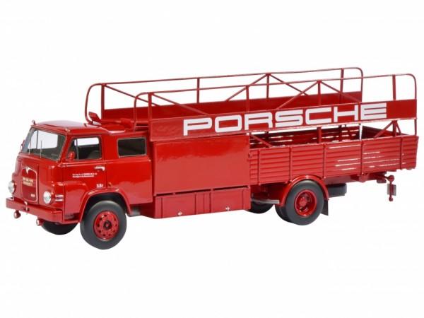 Schuco MAN Renntransporter Porsche rot 1:18 (verbesserte Verpackung)