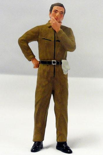 figurenmanufaktur Figur 1:18 Mechaniker nachdenklich, brauner Overall