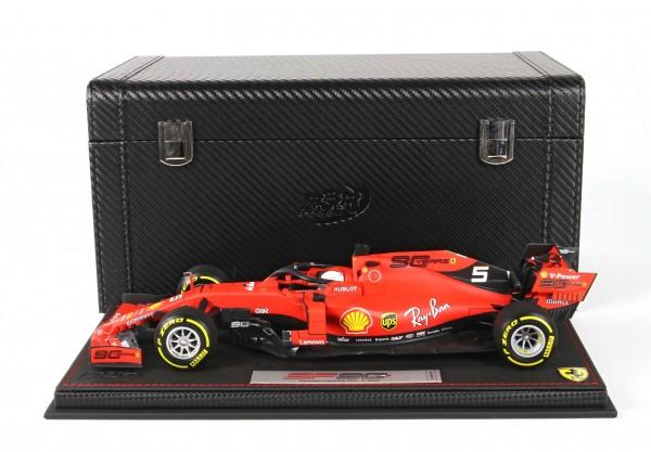BBR Ferrari SF90 GP Australia Vettel n 5 Pirelli yellow Leder Basis und Box Limited Edition 60