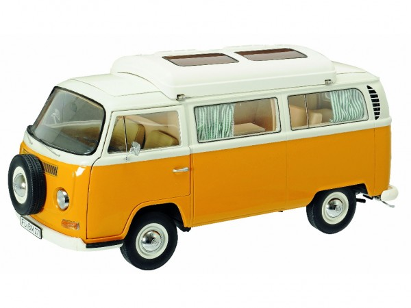Schuco VW T2a Campingbus orange-weiß 1:18