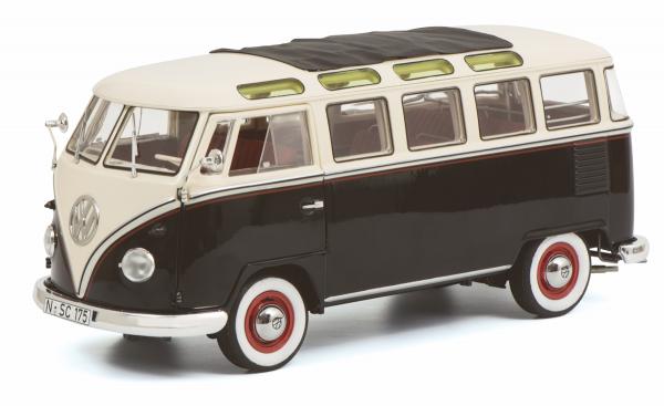Schuco Classic VW T1b Samba, schwarz-weiß 1:18