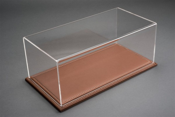 Vitrine Maranello für 1:18 Modelle Acrylhaube mit Leder Bodenplatte braun L325xB165xH125mm