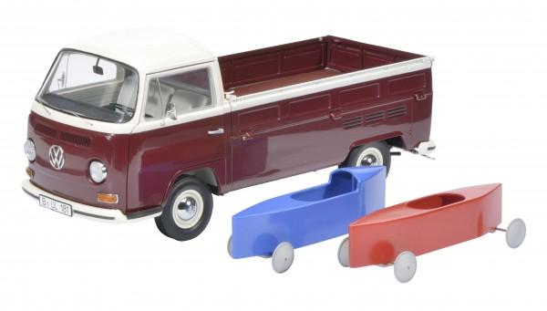 Schuco Exklusiv VW T2 Pritsche weiss-rot mit Seifenkisten
