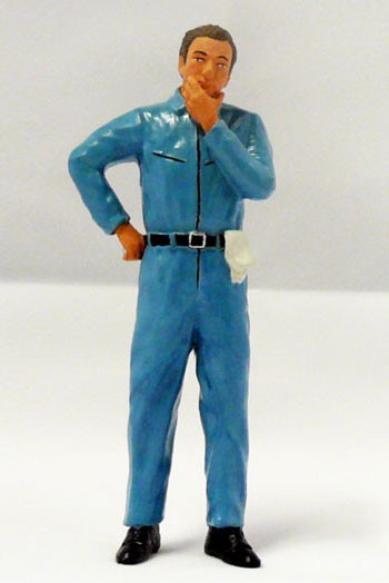 figurenmanufaktur Figur 1:18 Mechaniker nachdenklich, blauer Overall