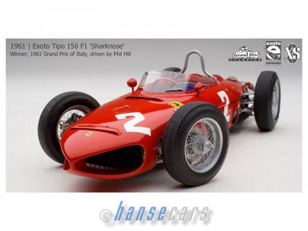 Exoto Tipo 156 F1 Sharknose 1961 #2 Winner Italien Phil Hill Limited Ed