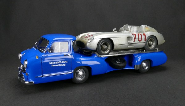 CMC Set Mercedes-Benz Renntransporter Blaues Wunder + 300 SLR #701 Dirty Hero® Limited Edition 1.000