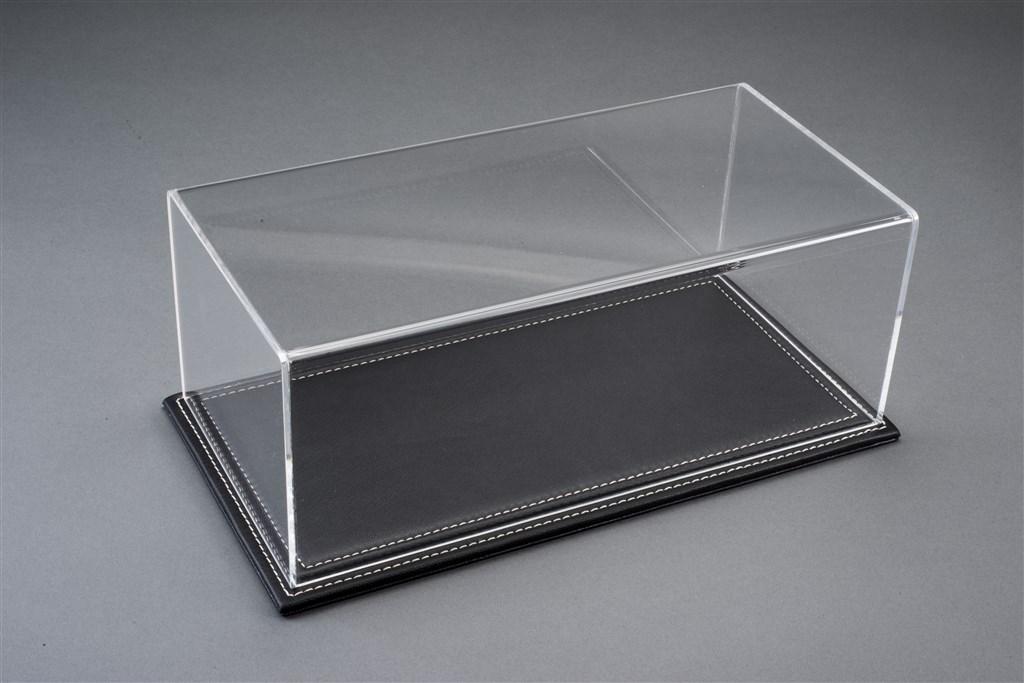 vitrine maranello f r 1 18 modelle acrylhaube mit leder bodenplatte schwarz l325xb165xh125mm. Black Bedroom Furniture Sets. Home Design Ideas