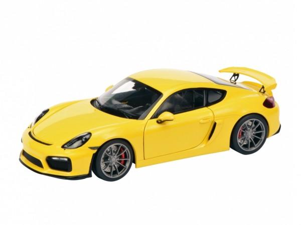 Schuco Porsche Cayman GT4 racinggelb 1:18