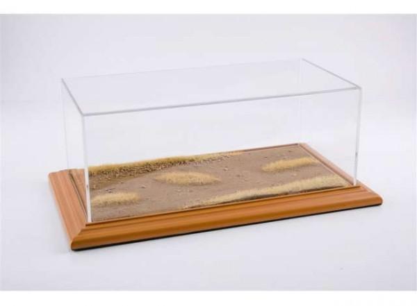 """Diorama Vitrine für 1:18 Modelle Acrylhaube mit """"Desert Road"""" Bodenplatte cherry Limited Edition 200"""
