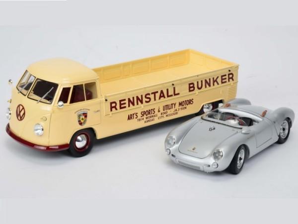 Schuco Sonder-Set VW T1 Bulli Pritsche Rennstall Bunker mit Ladegut Porsche 550 Spyder 1:18