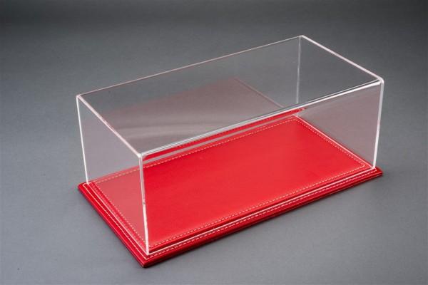 Vitrine Maranello für 1:18 Modelle Acrylhaube mit Leder Bodenplatte rot L325xB165xH125mm