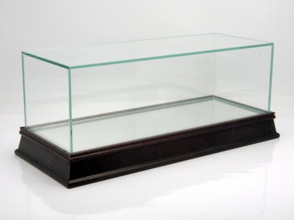 Vitrine für 1/18 Modelle Glashaube auf brauner Holzbodenplatte mit Spiegel
