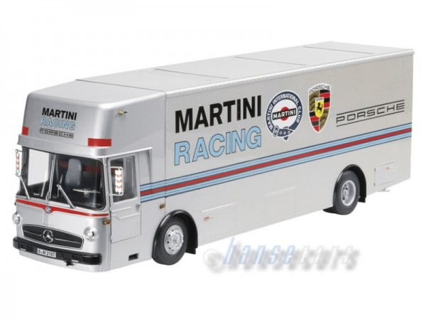 Schuco Porsche Renntransporter Mercedes-Benz O 317 Martini Racing Transporter 1:18 siber